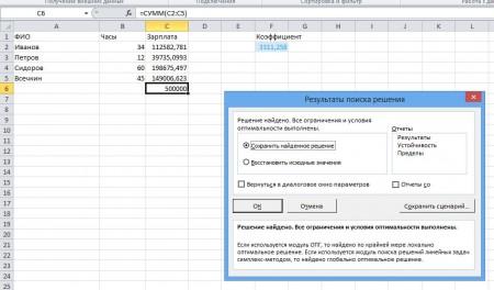 Excel poisk reshenija 7 450x264 Линейное программирование с пакетом MS Excel