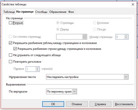 svoistva 2 441x350 Чем заменить Word? Работа с таблицами в программе Open Office Writer!