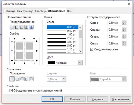 svoistva 4 445x350 Чем заменить Word? Работа с таблицами в программе Open Office Writer!